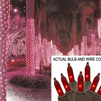 2' x 8' Red Mini Christmas Net Style Tree Trunk Wrap Lights - Brown Wire
