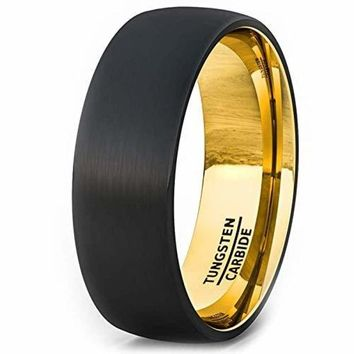 Two Tone Black Tungsten Wedding Ring Brushed Dome With 18k Gold Plated Comfort Fit - 8mm