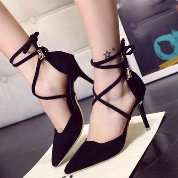 Sandals  Women Sex Female Summer Gladiator New Fashion Sandals Ankle Strap High Heels Shallow Cross Tied Shoes Zapatos Mujer