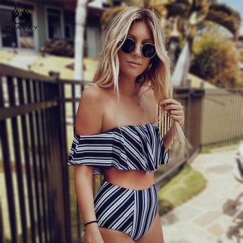 PLAVKY Retro Sexy Striped Off Shoulder Biquini Bandeau Ruffled Swim Wear Bathing Suit Swimsuit Swimwear Women High Waist Bikini