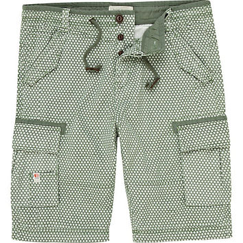 River Island MensGreen pattern shorts