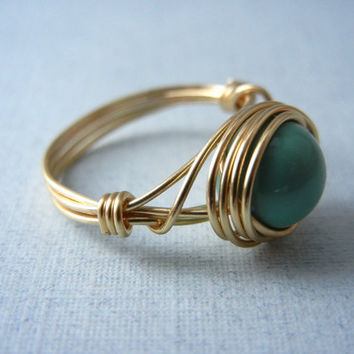 Swarovski Jade Pearl Ring - Wire Wrap Ring - Custom Size Ring
