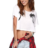 Volcom Slashed Out Cropped T-Shirt - Womens Tee - White -