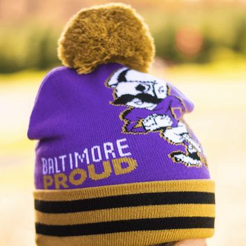 Baltimore Proud Natty Boh Running Back (Purple w/ Gold Pom) / Knit Beanie Cap