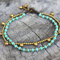 Turquoise Chain Layer Brass Anklet by brasslady on Etsy