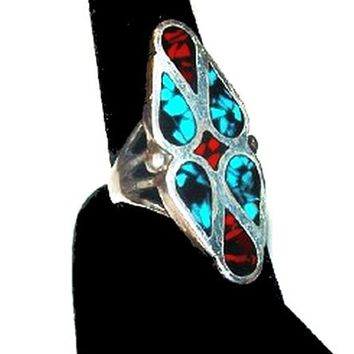 Turquoise Coral Sterling Silver Ring Navajo South Western Old Pawn Sz 7 Vintage