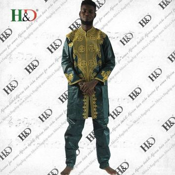 ONETOW H&D African Riche Men Bazin Dashiki Africa's Riche Man Costume Bazin Embroidery Design Style Cotton 100%