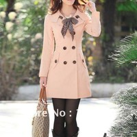 Fall Coats with Scarf  - Beige