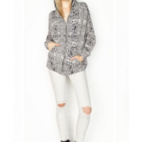 Michael Lauren AJAY Draped Hoodie in Snake - Michael Lauren