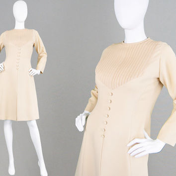 Vintage 70s Nude Dress Peggy French Couture Pintuck Dress Simple Shift Dress Mod Dress Inverted Pleats Jackie O Dress Wedding Guest Smart