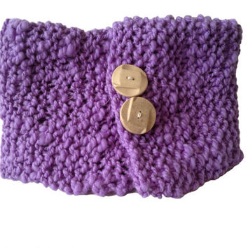 Hand Knitted Hand Spun Cowl, purple Merino, Chunky knit, neck warmer, stylish buttons fastening, extra warm, doubled thickness, fashionable