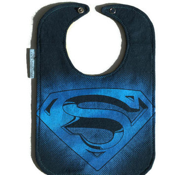 Superman Bib Superhero Bib Upcycled Tshirt Baby Bib