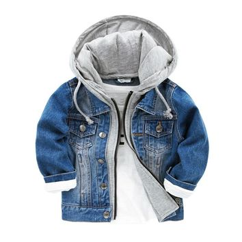 Baby Boys Jacket Autumn Kids Boy Hoodie Patchwork Denim Coat Children Outerwear Casual Long Sleeve Hoodies Toddler Sweatshirt