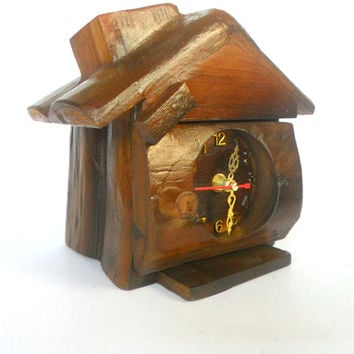 "Wooden Desk Clock House Shape clock Natural Teak Wood Carving Clock Hand Carved Home Art Decor Handmade vintage Gift 8""X8""X6"""