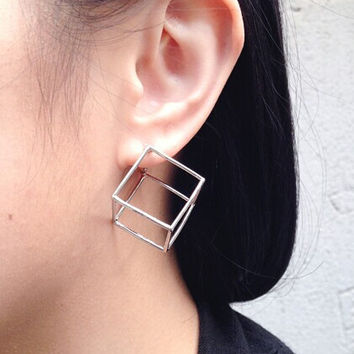 Three-dimensional Cube Earrings