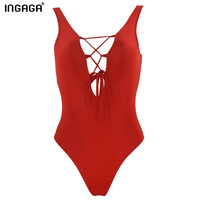 2016 sexy one piece lace up women swimsuit swimwear backless removable padding monokini beach bathing suits