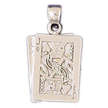 14K WHITE GOLD PLAYING CARDS CHARM #11217