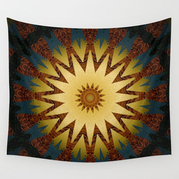 Brushed Gold Burgundy Blue Star Mandala Wall Tapestry by Sheila Wenzel