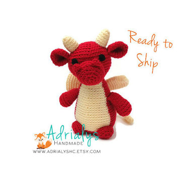 Crochet Dragon | Crochet Animals | Crochet Toy | Dragon Gift | Red Dragon | Dragon Toy | Mythical Creature  | Ready to Ship