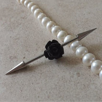 Industrial Barbell With Black Rose Body Jewelry Ear Jewelry Double Piercing choose your ends