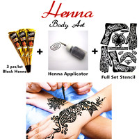 Mehndi Henna Body Art Set, Tattoo Paste Cones 3pcs + Henna Applicator + Stencil, Sexy Temporary Tatoo Wedding Adult Sex Products