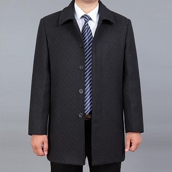 Winter Wool Coat Men Men Winter Trench Coat Fashionable And High-end Leisure And Increase The Size Mens Cashmere Long Coat