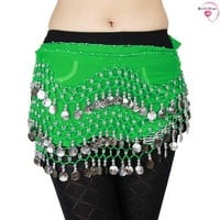 HOTER® Chiffon Dangling Silver Coins Belly Dance Hip Scarf, Vogue Style