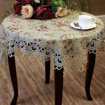 363#  European garden printed embroidery table cloth mat tablecloth lace tablecloth table dinner ornament runner square