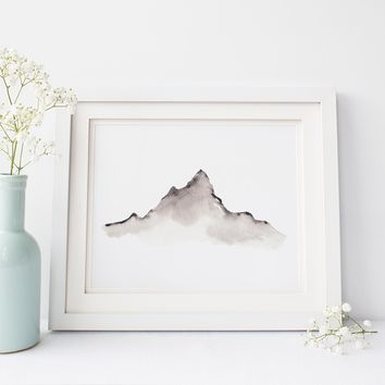 Modern Minimalist Brown Neutral Mountain Art Print