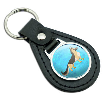 Noble German Shepherd Black Leather Keychain