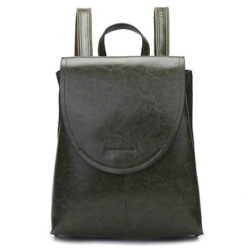 New fashion solid color leather backpack book bag Green