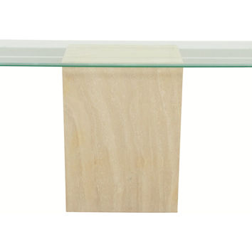 Pace Ello-Style Travertine & Glass Table