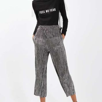 Stripe Metallic Plisse Trousers - Pants & Leggings - Clothing