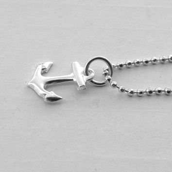 Anchor Necklace, Sterling Silver Anchor Necklace, Anchor Jewelry, Anchor Pendant, Sterling Silver Jewelry, Charm Necklace, Small Anchor