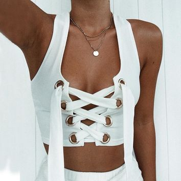 Women Sexy Bralette White Cropped Tank Top Fashion 2018 Tumblr Female Camisole Sleeveless Bandage Lace Up Top Haut Femme