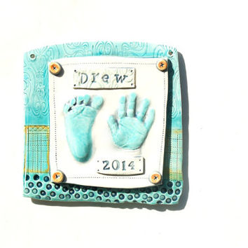 Personalized Ceramic Handprint Keepsake of your Baby,  Gift idea for Mom and Dad