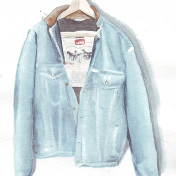 HM052 Original art watercolor painting Denim jacket by Helga McLeod