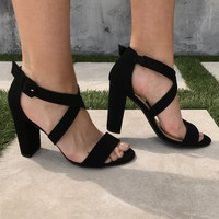 Lover's Lane Strap Heels in Black