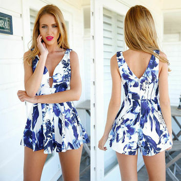 Flower Print V-neck Sleeveless A-line Sexy Jumpsuits