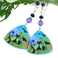 Black Cats Halloween Earrings, Owls Bats Full Moon Crystals Handmade Jewelry for Women