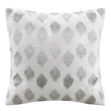 Abstract Dot Silver Accent Throw Pillow