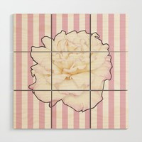 Pale Rose on Stripes Wood Wall Art by drawingsbylam