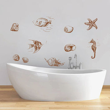 kik1336 Wall Decal Sticker fish seahorse sea star animal bathroom living room bedroom