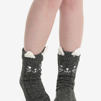 Grey Knit Kitty Crew Cozy Slippers