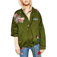 Women Army Green Floral Embroidery Bomber Jacket