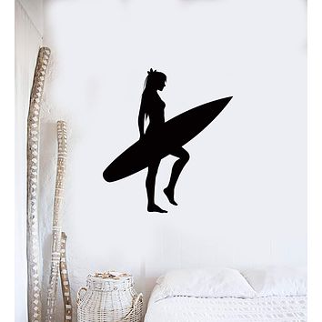 Wall Sticker Serf Serfing Girl With Serf Board Ocean Beach Coolest Decor  Unique Gift z1525