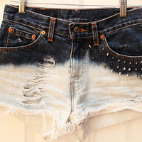 The Abigail Shorts (Silver or Gold Spiked High-Waisted Ombre Cutoff Shorts)