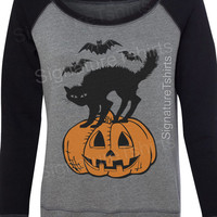 Halloween sweatshirt - Black cat Bats Pumpkin Off the Shoulder - Womens Sweatshirt - Halloween party sweater - Slouchy Sweatshirt