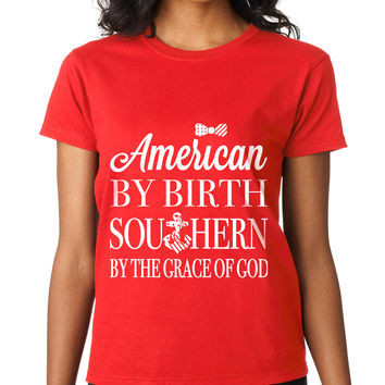 American By Birth Southern By The Grace Of God Crewneck Tee
