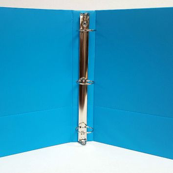"1"""" Basic 3-Ring Binder w/ Two Inside Pockets - Cyan Case Pack 12"